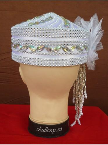 Свадебная белая тюбетейка